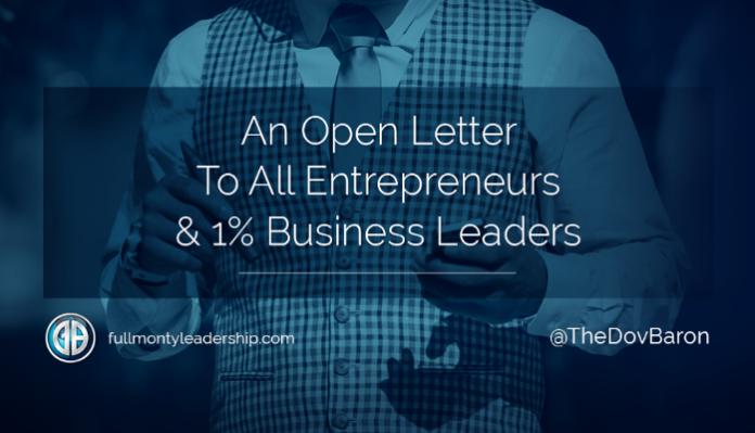 Dov Baron, writes an open leader