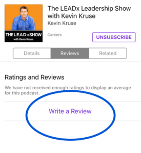 Write a review for LEADx podcast