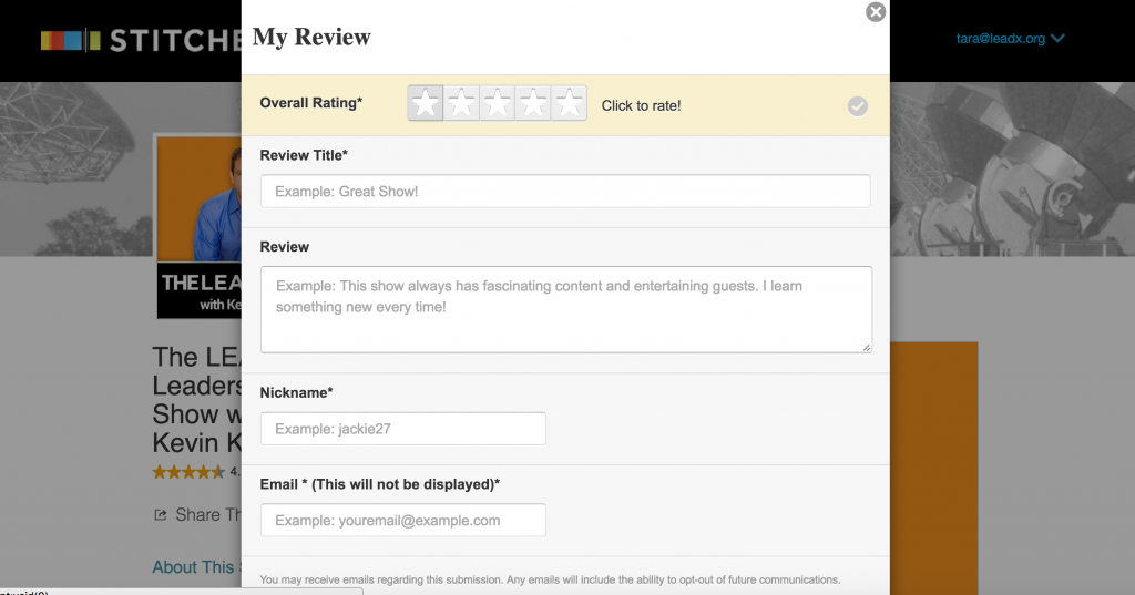 My review page