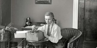 Boy with old telegraph