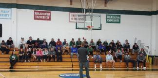 Jeff Davis speaking to student athletes at Post University