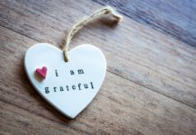 I am grateful gratitude wooden heart